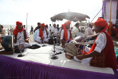 Local musicians perform traditional Indian musical instruments throughout the event