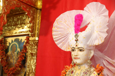 Divine darshan of Lord Shree Swaminarayan covered in colour