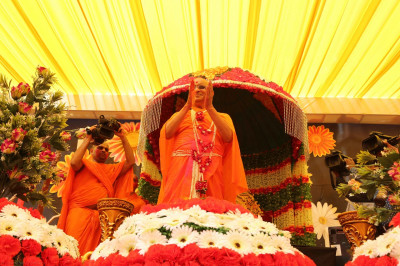 His Divine Holiness Acharya Swamishree dances with Sants and disciples