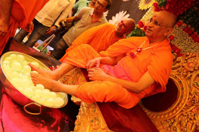 Divine darshan of His Divine Holiness Acharya Swamishree with the loaded water bombs