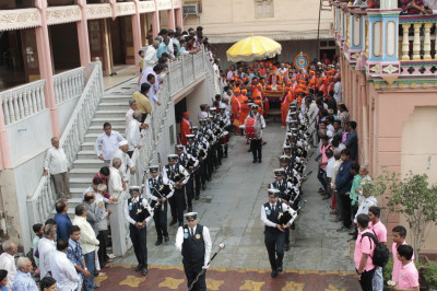 The band performs during the short procession to the sabha mandap