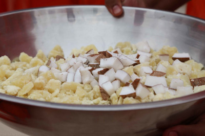 Traditional coconut and jaggery is offered to the Lord