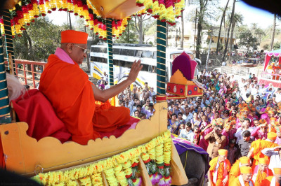 His Divine Holiness Acharya Swamishree blesses all seated on the elephant