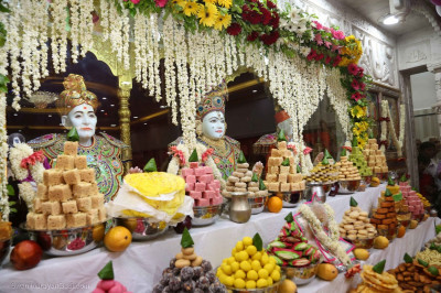 Various delicacies offered to the Lord for the annakut