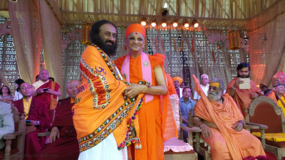 Acharya Swamishree Maharaj with Sri Sri Ravi Shankar, Spiritual leader and founder of The Art of Living, India