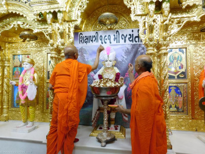 Sants lovingly and carefully shower Lord Shree Swaminarayan in pink gulal