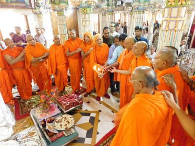 Sants and disciples perform aarti
