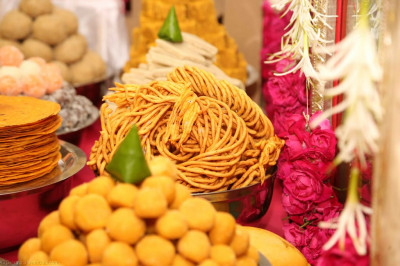 Part of the huge annakut of sweet and savoury items offered to the Lord
