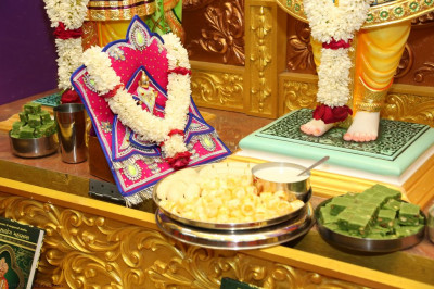 Shree Harikrishna Maharaj is offered ekadasi sweets and savouries