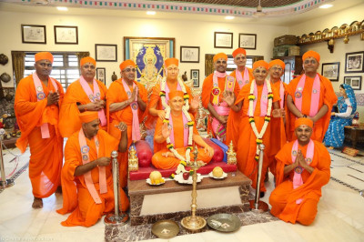 His Divine Holiness Acharya Swamishree blesses sants inside Shree Purushottam Pragatya Dham