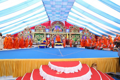 His Divine Holiness Acharya Swamishree sings and dances to the new devotional song to the delight of all