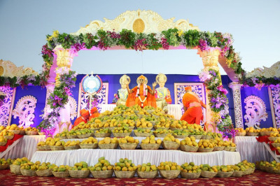 His Divine Holiness Acharya Swamishree blesses all from the stage