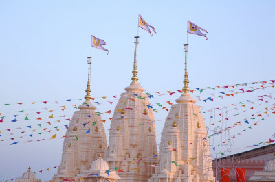 The top section of Shree Swaminarayan Mandir Bharasar