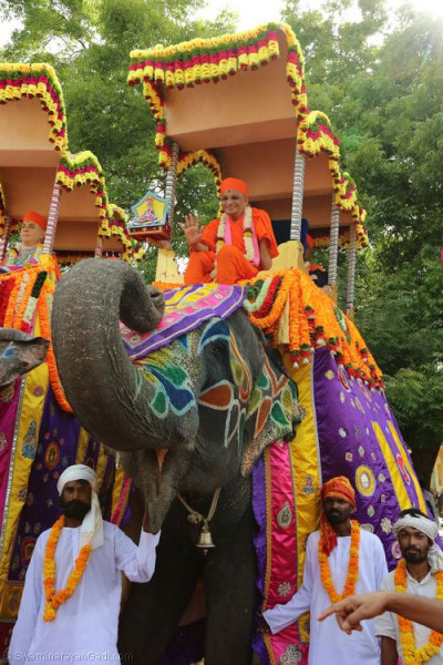 Divine darshan of His Divine Holiness Acharya Swamishree seated on the elephant