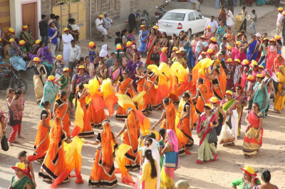 Disciples perform various dances as part of the grand procession