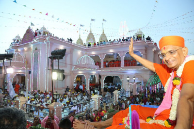 His Divine Holiness Acharya Swamishree blesses all seated on the elephant outside the magnificent Shree Swaminarayan Mandir Bharasar