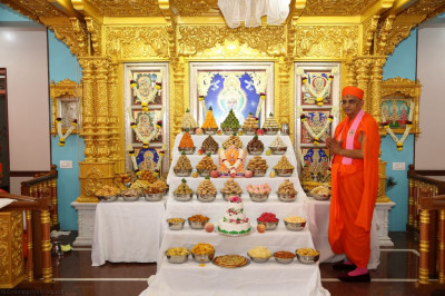 Divine darshan of His Divine Holiness Acharya Swamishree with Lord Shree Swaminarayanbapa Swamibapa dining on the annakut of sweet and savoury items