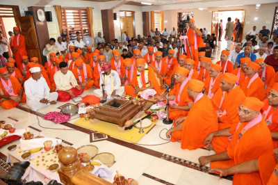 Sants and disciples fill the mandir
