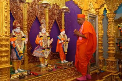 His Divine Holiness Acharya Swamishree performs the murti installation maha poojan ceremony