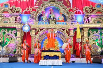 His Divine Holiness Acharya Swamishree dances to a devotional song
