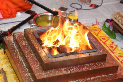 The yagna poojan fire