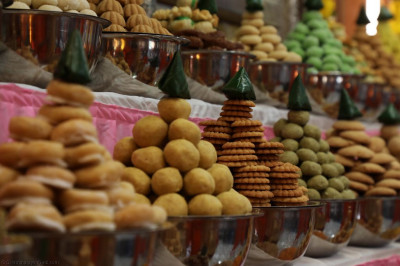 A close of the many annakut items of sweet and savoury items offered to the Lord