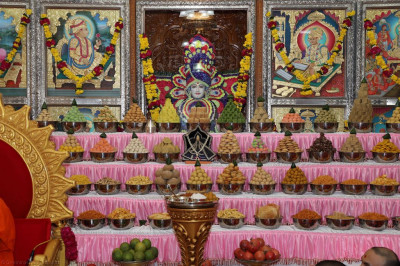 Divine darshan of Lord Shree Swaminarayan dines on the magnificent annakut of sweet and savoury items