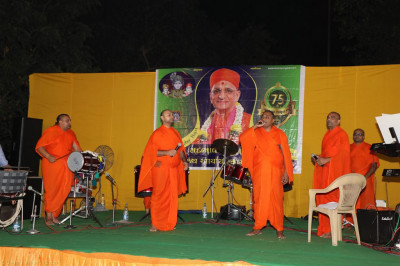 Sants perform devortional songs during raas