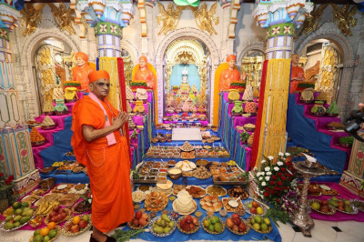 Divine darshan of His Divine Holiness Acharya Swamishree with the magnificent annakut
