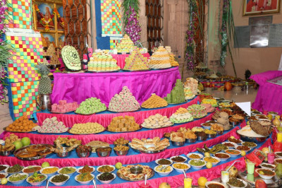 Part of the magnificent annakut of sweet and savoury items offered to the Lord