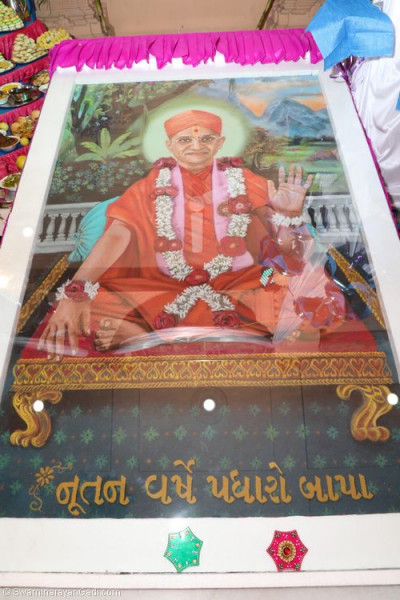 A special potrait of His Divine Holiness Acharya Swamishree is unveiled