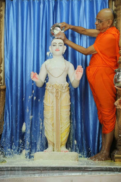 His Divine Holiness Acharya Swamishree bathes Lord Shree Swaminarayan with yogurt