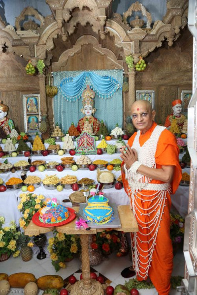 Divine darshan of His Divine Holiness Acharya Swamishree with Lord Shree Swaminarayan