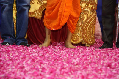 Young disciples shower flower petals as part of their devotional dance