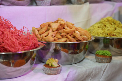 A close up of some of the sweets and savouries offered to the Lord