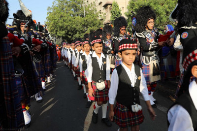 Shree Muktajeevan Swamibapa Pipe Band India perform joined by cadets who march throughout the procession