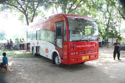 The Indian Red Cross blood donation mobile unit