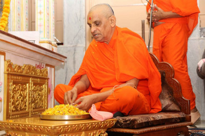 His Divine Holiness Acharya Swamishree showers flower petals at the lotus feet of Lord Shree Swaminarayanbapa Swamibapa