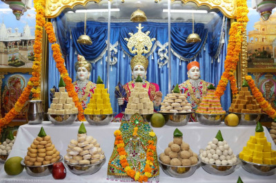 Sweets and savouries are offered to the Lord in the form of annakut