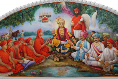 One of the new oil paintings in the new ceiling art gallery at Shree Swaminarayan Mandir Mumbai. Here, Lord Shree Swaminarayan is forecasting the establishment of the headquarters of the Karan Satsang in Maninagar at a mango grove, which is now the exact location of Shree Swaminarayan Mandir Maninagar
