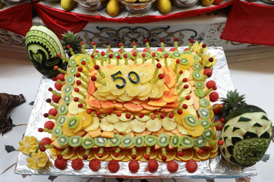 A fruit carving cake was made to celebrate the 50th Patotsav (Suvarna Pratishtha) of Shree Swaminarayan Mandir Mumbai