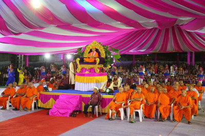 His Divine Holiness Acharya Swamishree and Sants enjoy the various raas performances
