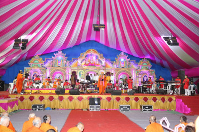 The view of the magnificent stage during the devotional song concert