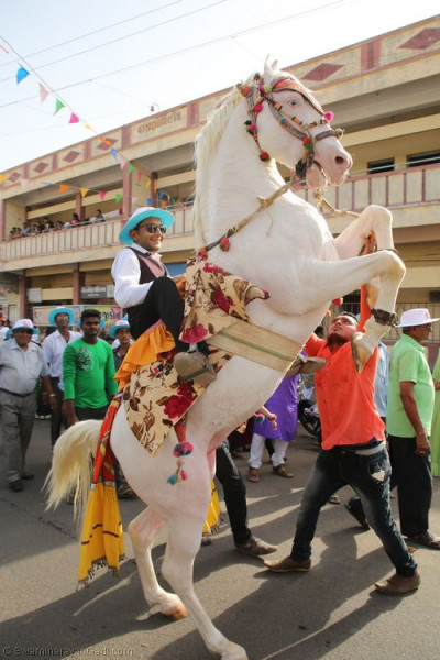 Disciples ride on horses during the grand procession