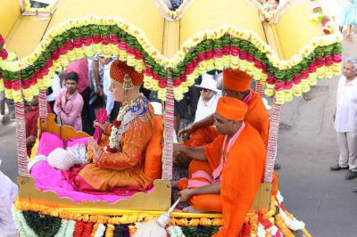 Divine darshan of Lord Shree Swaminarayan seated on the elephant