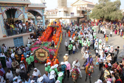 The grand procession arrives at the central square