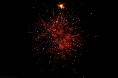 Colourful fireworks light up the night sky