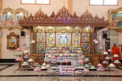 A total of 75 cakes and a large selection of different sweets and savouries are offered to the Lord