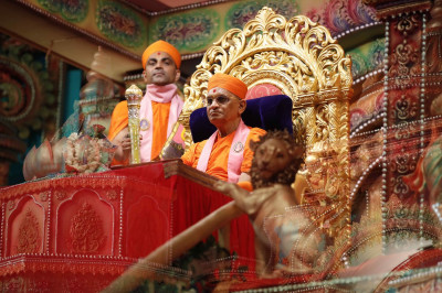 Divine darshan of Acharya Swamishree on stage