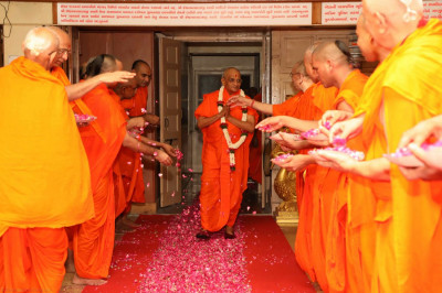 The Sant Mandal greets Acharya Swamishree with fresh flower petals as He makes His way into the Sabha Mandap